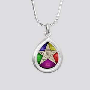 Elemental Pentagram Silver Teardrop Necklace
