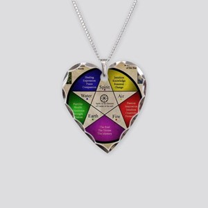 Elemental Pentagram Necklace Heart Charm