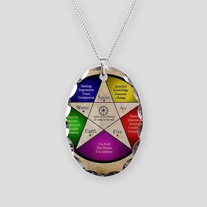 Elemental Pentagram Necklace Oval Charm
