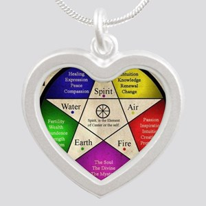 Elemental Pentagram Silver Heart Necklace