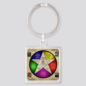 Elemental Pentagram Square Keychain