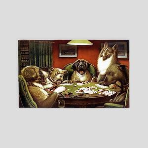 Waterloo Dog Poker 3'x5' Area Rug