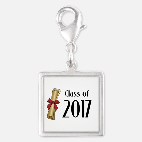 Class of 2017 Diploma Silver Square Charm