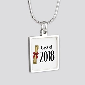 Class of 2018 Diploma Silver Square Necklace