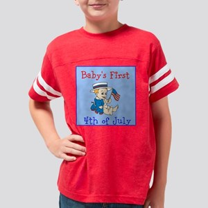 Babys First 4th of July Youth Football Shirt