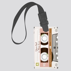 Cassette Tape - Tan Large Luggage Tag