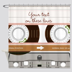 Cassette Tape - Tan Shower Curtain