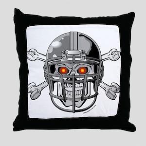 Skull Bones Football Helmet Throw Pillow