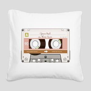 Cassette Tape - Tan Square Canvas Pillow
