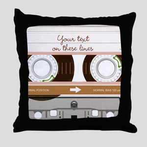 Cassette Tape - Tan Throw Pillow