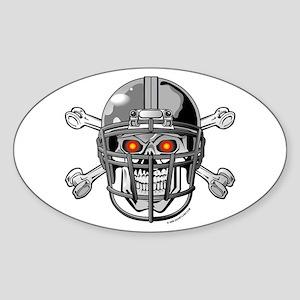 Skull Bones Football Helmet Oval Sticker