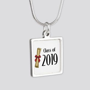 Class of 2019 Diploma Silver Square Necklace