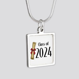 Class of 2024 Diploma Silver Square Necklace