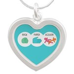 Rock Paper Scissor Silver Heart Necklace