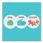 Rock Paper Scissor Square Car Magnet 3
