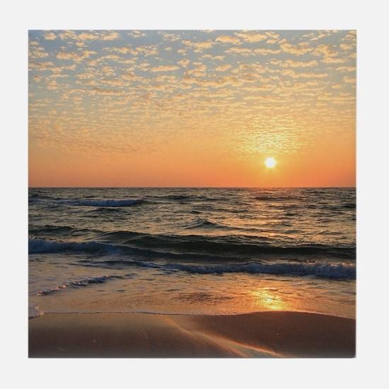 Sunset, Beach, & Clouds Tile Coaster