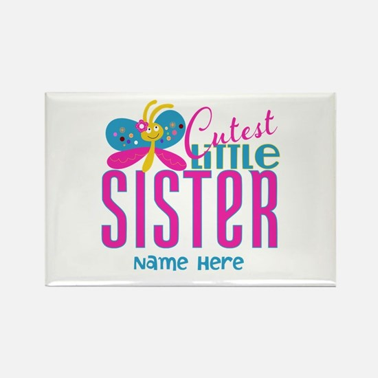Custom Cutest Little Sister Rectangle Magnet