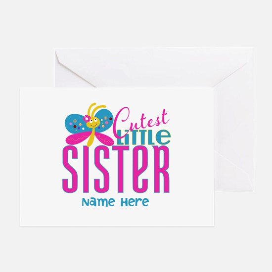 Custom Cutest Little Sister Greeting Card
