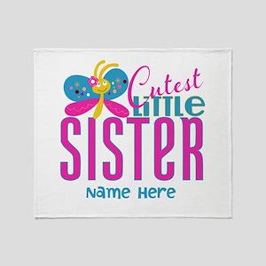 Custom Cutest Little Sister Throw Blanket
