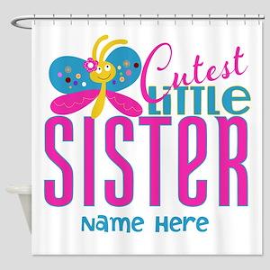 Custom Cutest Little Sister Shower Curtain
