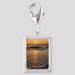 Sunset and Reflections Silver Portrait Charm