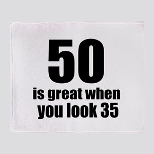 50 Is Great Birthday Designs Throw Blanket