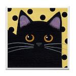 Black CAT - Gold w Black Polka Dots! ART Tile