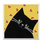 CUTE Black Kitten Yellow With Hearts CAT ART Tile