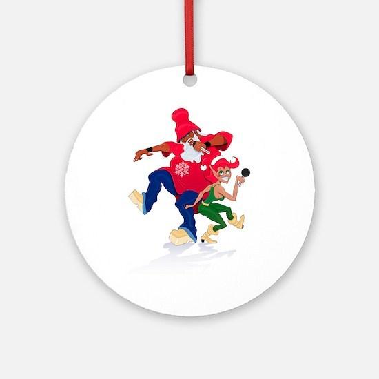 DJ Hip-Hop Santa Claus Ornament (Round)