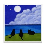 3 Black CATS and the Night Sea ART Tile