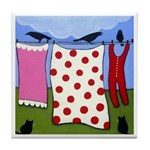 Black CATS, Crows, and Clothes ART Tile
