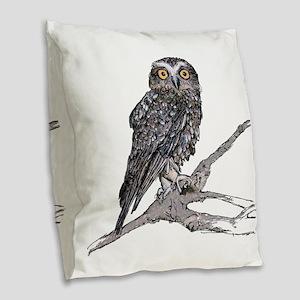 Southern Boobook Owl Burlap Throw Pillow