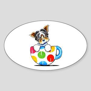 Biewer Yorkie Cup Sticker (Oval)