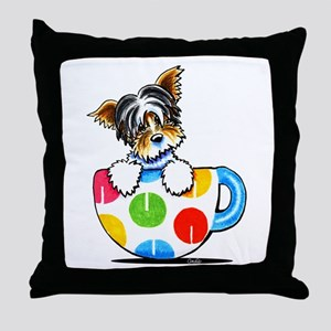 Biewer Yorkie Cup Throw Pillow