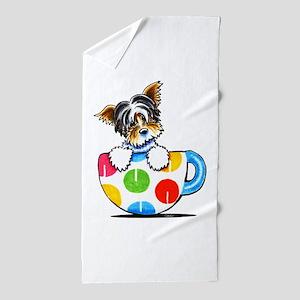 Biewer Yorkie Cup Beach Towel