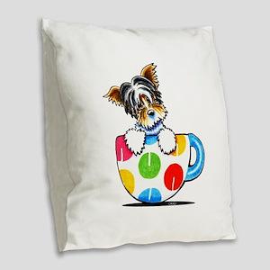 Biewer Yorkie Cup Burlap Throw Pillow