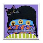 Black CAT On Exotic Cushions ART Tile