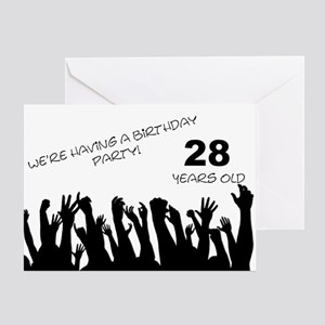 28th birthday greeting cards cafepress 28th birthday party invitation greeting card bookmarktalkfo Gallery
