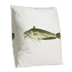 Wels catfish Burlap Throw Pillow