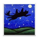 Mama Black CAT and Babies Fly To Moon ART Tile