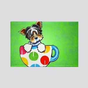Biewer Yorkie Cup Green Rectangle Magnet