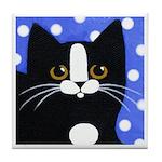 Black Tuxedo CAT - Blue Polka Dots ART Tile