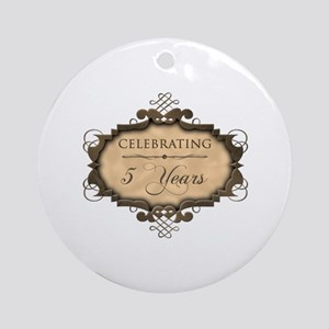 5th Wedding Aniversary (Rustic) Ornament (Round)