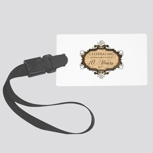 10th Wedding Aniversary (Rustic) Large Luggage Tag