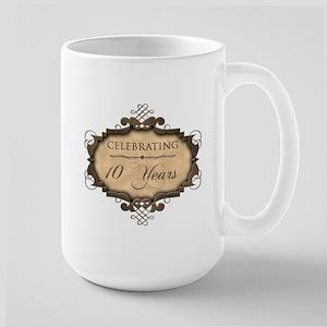 10th Wedding Aniversary (Rustic) Large Mug