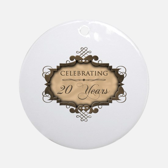 20th Wedding Aniversary (Rustic) Ornament (Round)