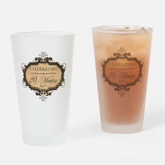 20th Wedding Aniversary (Rustic) Drinking Glass