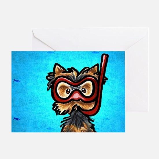 Yorkie Snorkel Mask Greeting Card
