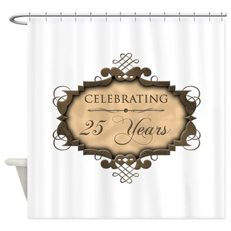 25th Wedding Aniversary (Rustic) Shower Curtain