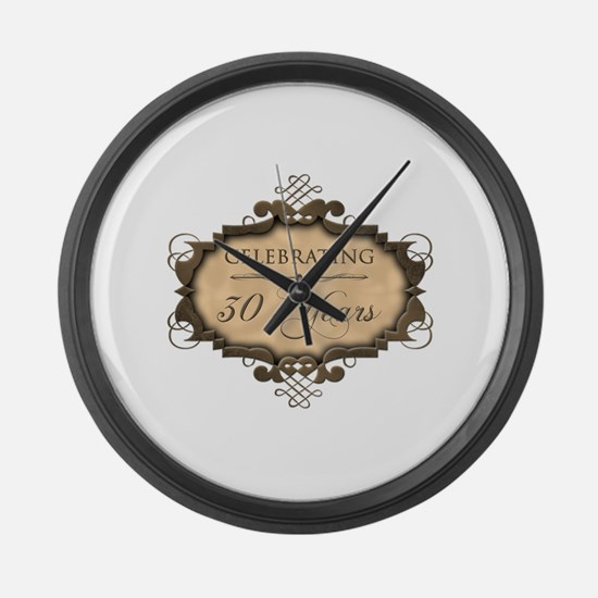 30th Wedding Aniversary (Rustic) Large Wall Clock